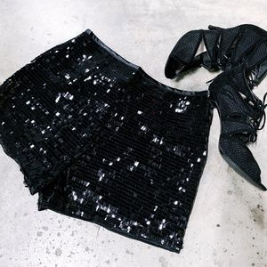 SHEIN Black Sequin Shorts